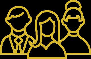 Yellow icon demonstrating three team members