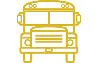 Yellow icon of front of school bus
